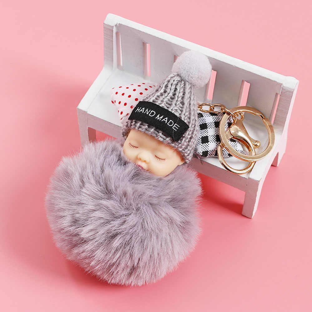1 PC Bonito Fofo Bebê Dormindo Chaveiro Bola de Pêlo de Coelho Pompom Chaveiro Car Chaveiro Mulheres Saco Chave Titular Pingente charme Jóias