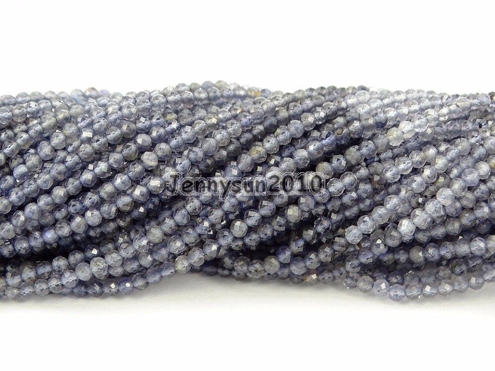 Pierres précieuses naturelles brillantes Iolite de qualité AAA 3mm perles rondes à facettes 15