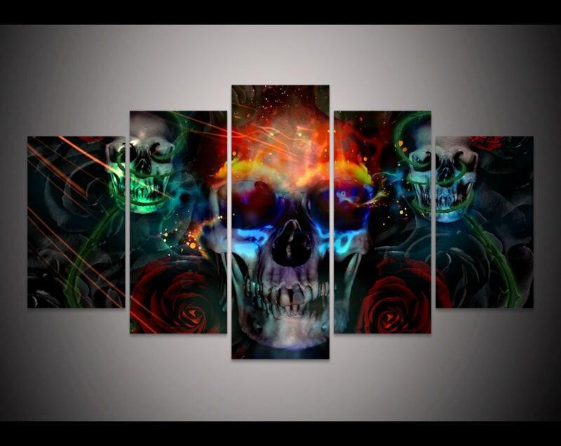 PrHot sale int cgi digital skull Painting Halloween Home decor wall art picture print Halloween Oil Painting on canvas art
