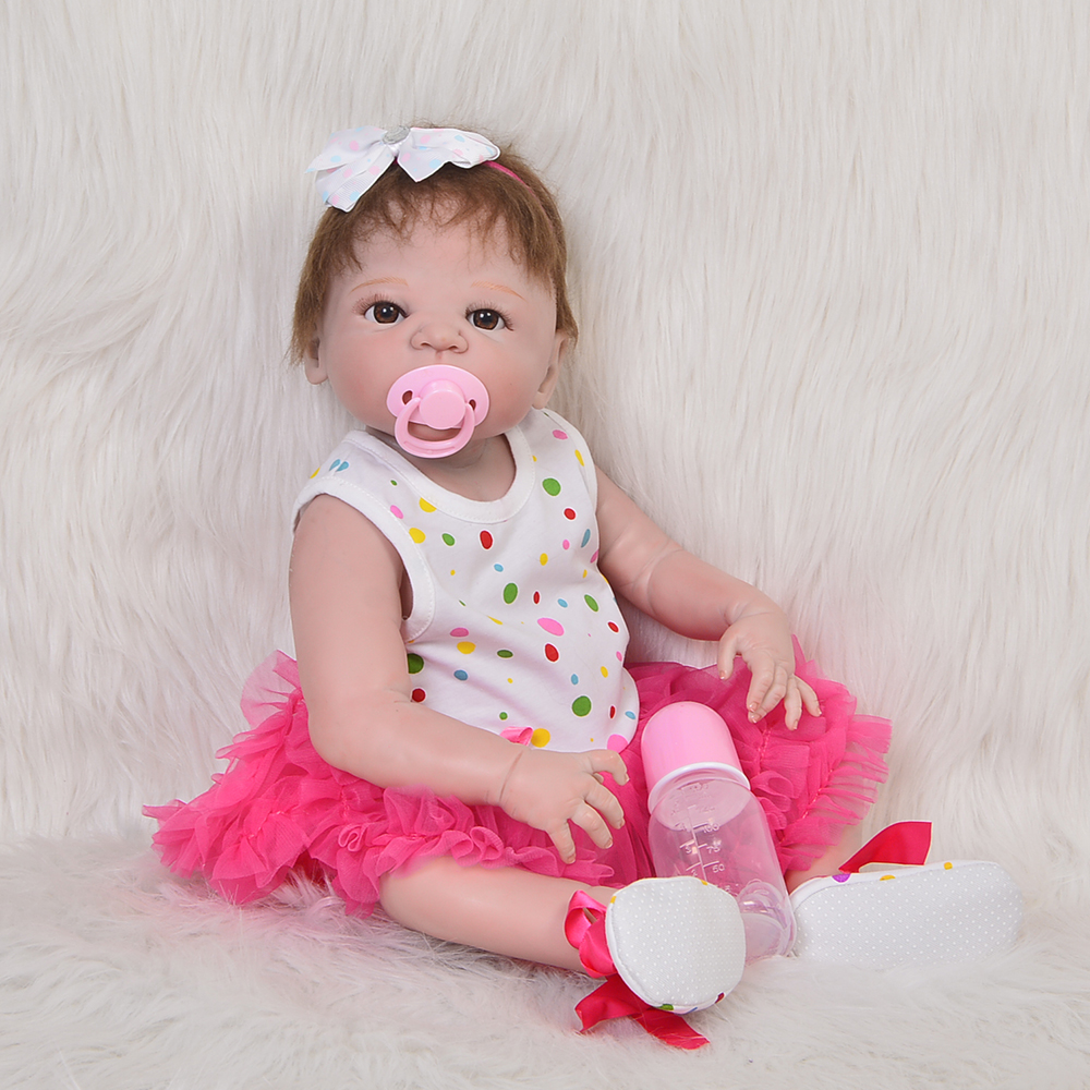 Realistic 23'' Reborn Baby Dolls Toy For Girl Full Silicone Vinyl Newborn Dolls Truly Princess Rooted Mohair Reborn Boneca Gifts 23 silicone reborn girl dolls toys bebe princess reborn purple dress rooted hair newborn baby toddler dolls gifts for child