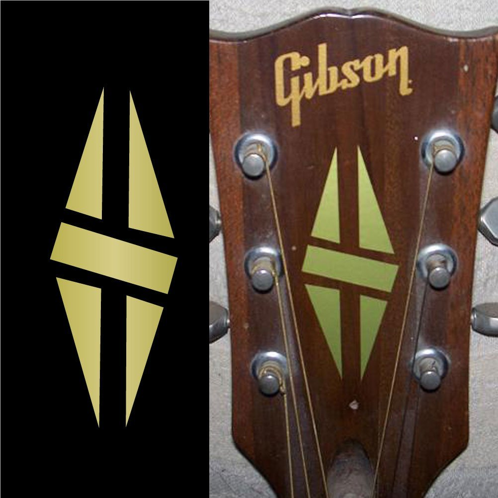 Inlay Sticker Decal Guitar Headstock -  Diamond Hatch Gold/White
