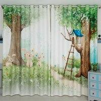 3d Cartoon Tree Forest Rabbit Blackout Curtain Custom Children S Green Forest Curtain Boy Curtain For