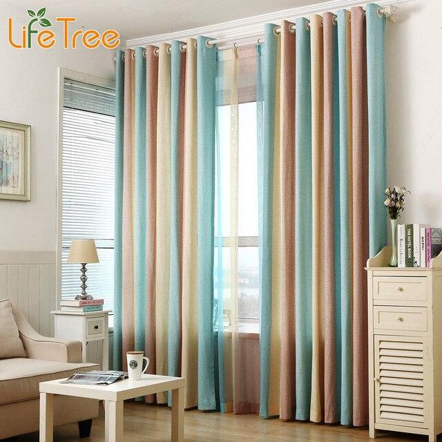 1 piezas azul a rayas cortinas de la ventana para dormitorio niños ...