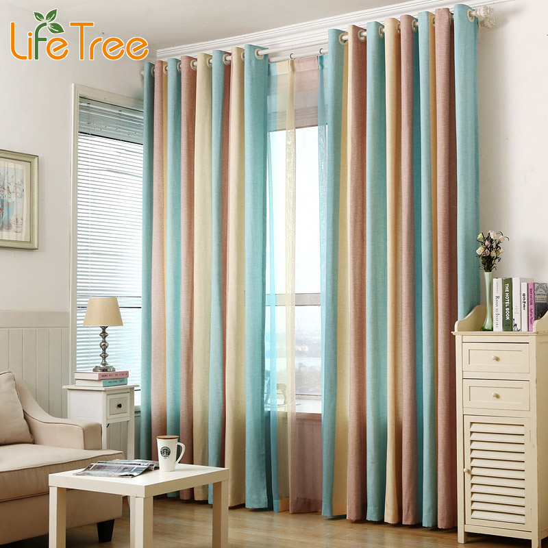 1Pcs Blue Striped Window Curtains For Bedroom Children Kids Room Drapes  Modern Tulle Curtains For Living