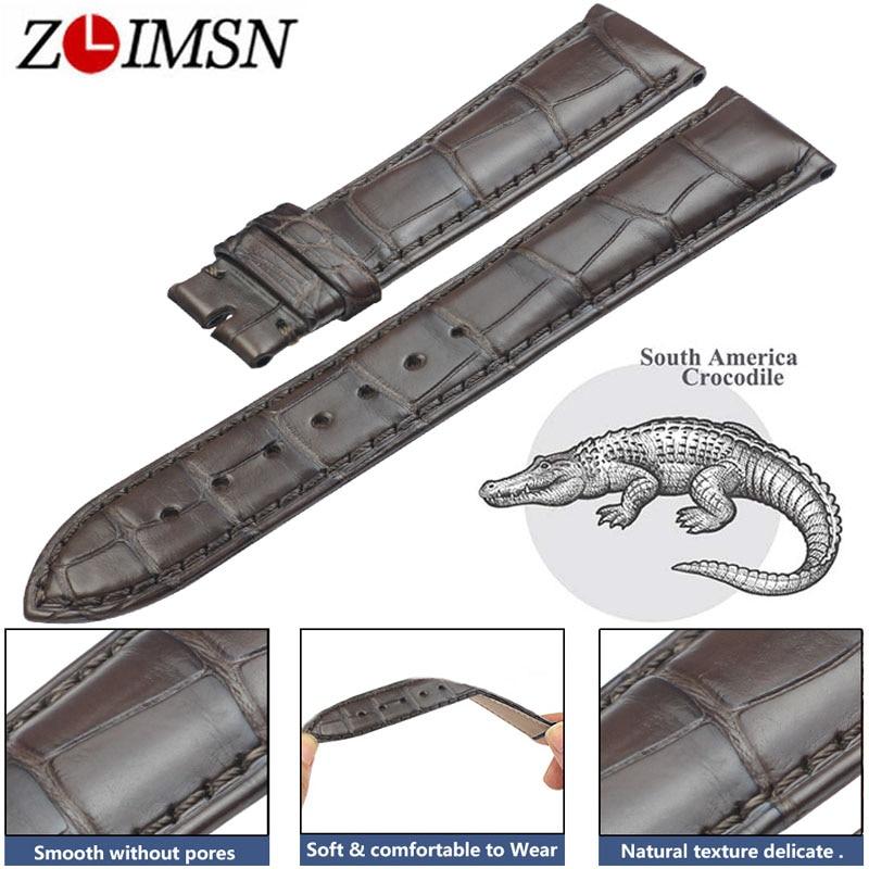 ZLIMSN Crocodile En Cuir Brun Bracelet De Mode Bambou Motif Main-Cousu De Luxe Confortable Hommes et Femmes Montre Bande 22mm 12mm-26mm