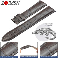 ZLIMSN Crocodile Leather Brown Strap Fashion Bamboo Pattern Hand Sewn Luxury Comfortable Men and Women Watch Band 22mm 12mm 26mm