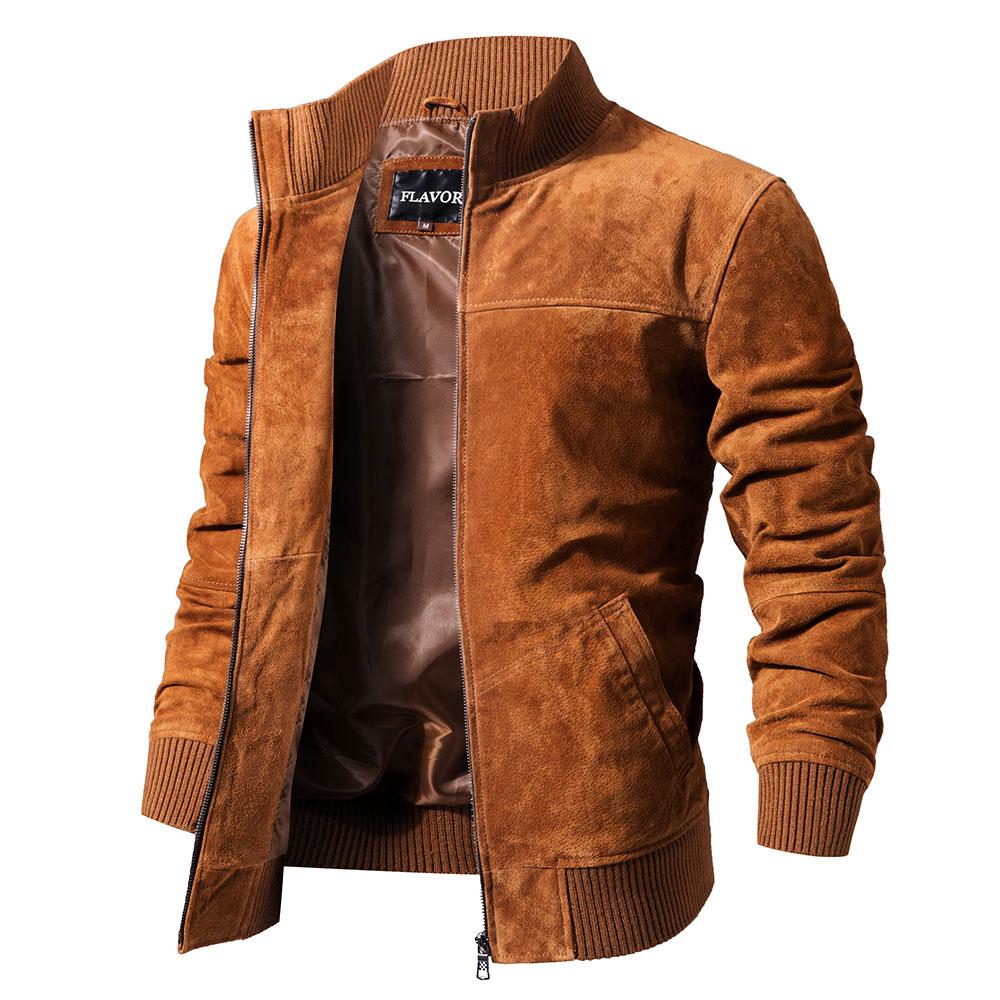 HTB1y7eRlBsmBKNjSZFsq6yXSVXak FLAVOR Men's Real Leather Jacket Men Pigskin Slim Fit Genuine Leather Coat With Rib Cuff Standing Collar