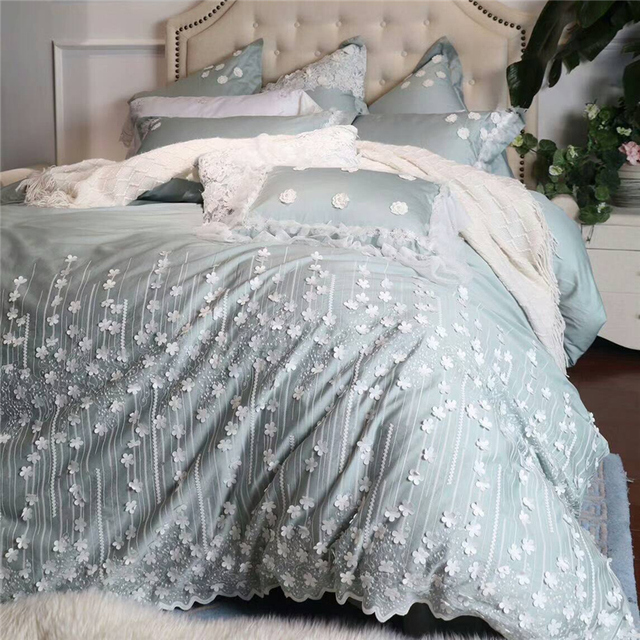 4 6 7pcs Egypt Cotton Princess Luxury Bedding Set Handmade Lique Lace Duvet Cover