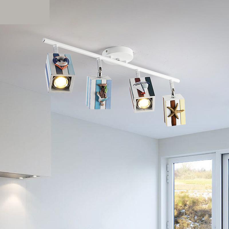Mediterranean Style Light Living Room Ceiling Mounted Spotlight Led Track Modern Background Wall Bedroom Ceiling Lamp