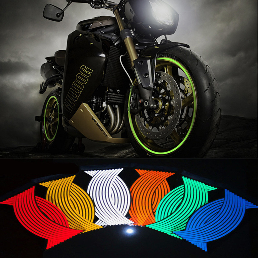 Quality 16 Pcs Strips Motorcycle Wheel Sticker Reflective Decals Rim Tape Bicycle Car Styling For YAMAHA HONDA SUZUKI Harley BMW