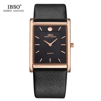 IBSO 6MM Ultra Thin Rectangle Dial Quartz Wristwatch Black Genuine Leather Strap Watch Men Classic Business