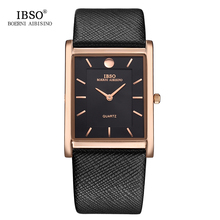 IBSO 7MM Ultra-thin Rectangle Dial Quartz Wristwatch Black Genuine Leather Strap Watch Men Classic Business New Men Watches 2017