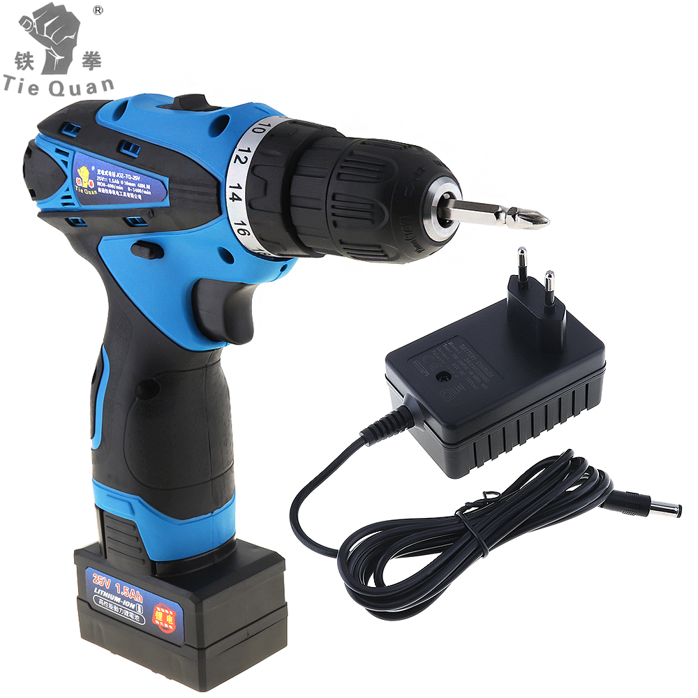 25V Electric Power Tools Electric Drill / Screwdrive Two-Speed Rechargeable Lithium Battery Cordless Impact Drill цена
