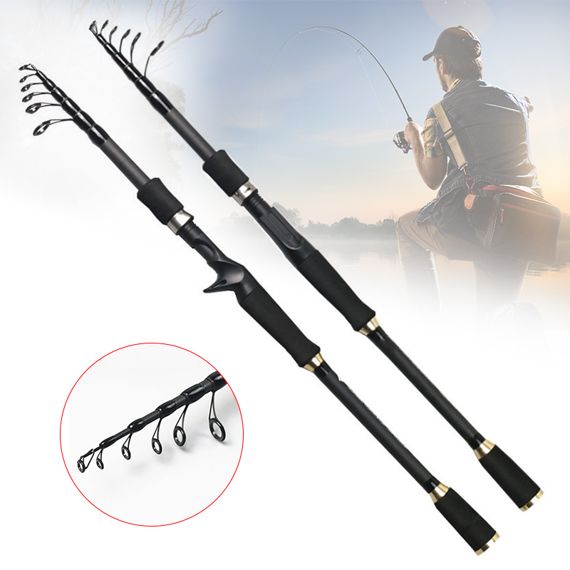 New Telescopic Fishing Rod Carbon Fiber Ultralight Fishing Pole Portable Spinning Casting Rods WHShopping