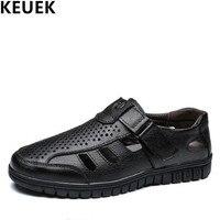 Slip resistant Men Sandals Split Leather Breathable Hollow Dress shoes Classics Male Summer Flats Hook & Loop leather Sandals 03