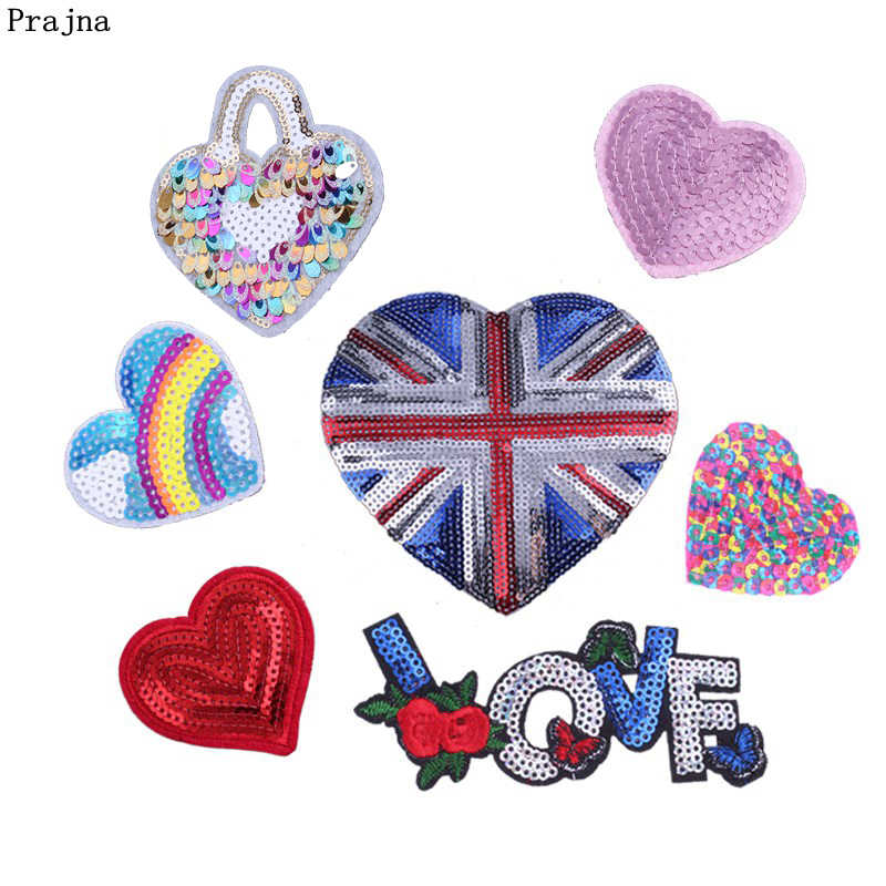 Prajna Sequined Heart Sticker On Clothes Love Patches British Flag Arm Badges Letters Sewing Accessories DIY Clothing Jeans 3D