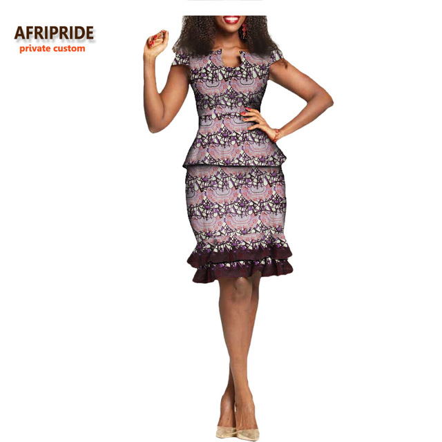 d408244c6 2018african summer women 2-pieces suit AFRIRPIDE sleeveless O-neck top+knee- length double layer pleat skirt casual suit A722638