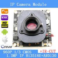 PU`Aimetis IPC 960P 1280 x 960 1/3 CMOS  Hi3518+AR0130  CCTV IP camera module board + HD IR-CUT dual-filter switch
