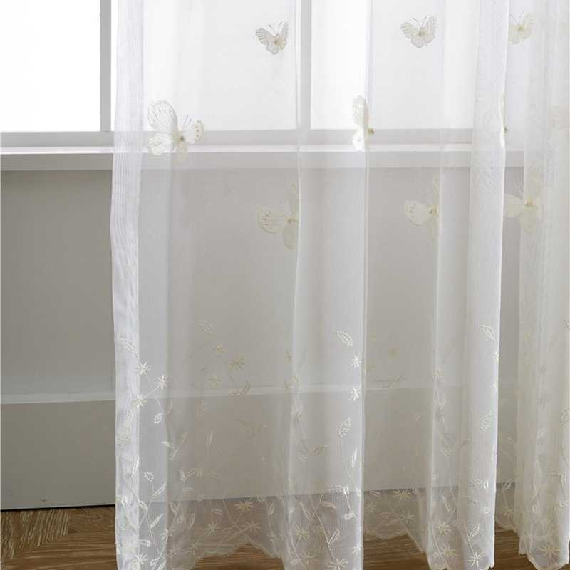3D Embroidery Sheer Tulle Curtain Living Room Bedroom White Voile Curtains Fabric Drape Window Pink Floral Tulle Cortina wp224 3
