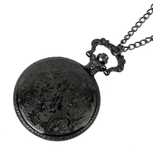 Retro Bronze Vintage Pocket Watch Necklace Chain Pendant Black Antique Quartz Pocket Watches vintage pocket watch antique quartz modern retro web pattern ball shape with wing full hunter men chain women necklace pendant