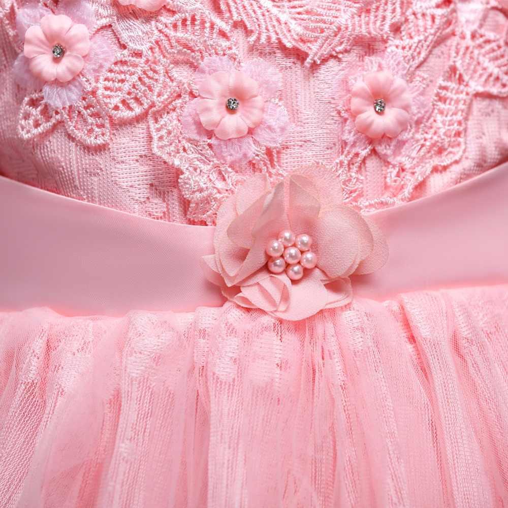 ANGELSBRIDEP פרח ילדה שמלות תחרה פניני בנות כדור שמלת שמלות נשף קודש הקודש עם קשת סרט