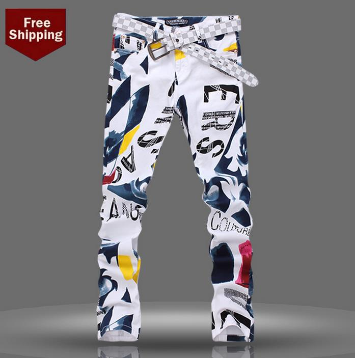 ФОТО White spring fashion thin famous brand men jeans printing skinny pant man denim trousers straight new arrival designer