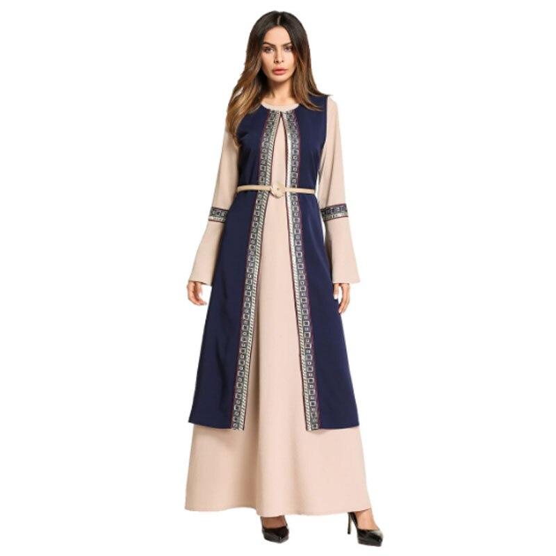 Royal Blue Pink Long Dress For Saudi Or Bangladeshi Girls With Waistband Girdle,Double Layer Muslim Kaftan Women Garment Heporen