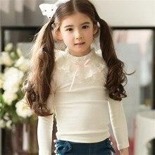 3 Style Autumn Baby Girls Tops Children Lace Collar T shirt Kids Girls Cotton Long Sleeve Base Shirts Kids Girls Clothes T shirt