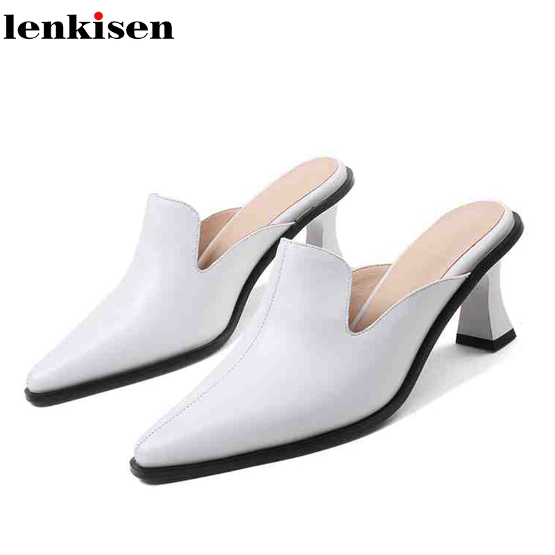 Lenkisen 2018 new 6.5 cm high heels genuine leather shoes women vintage beauty lady causal concise simple style women pumps L17