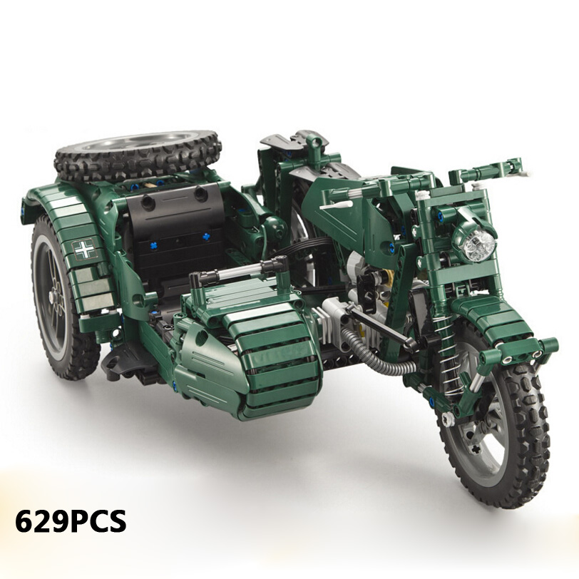 2.4GHz remote radio control world war military MWSC Motorcycle With a Sidecar building block model motor brick rc toy collection