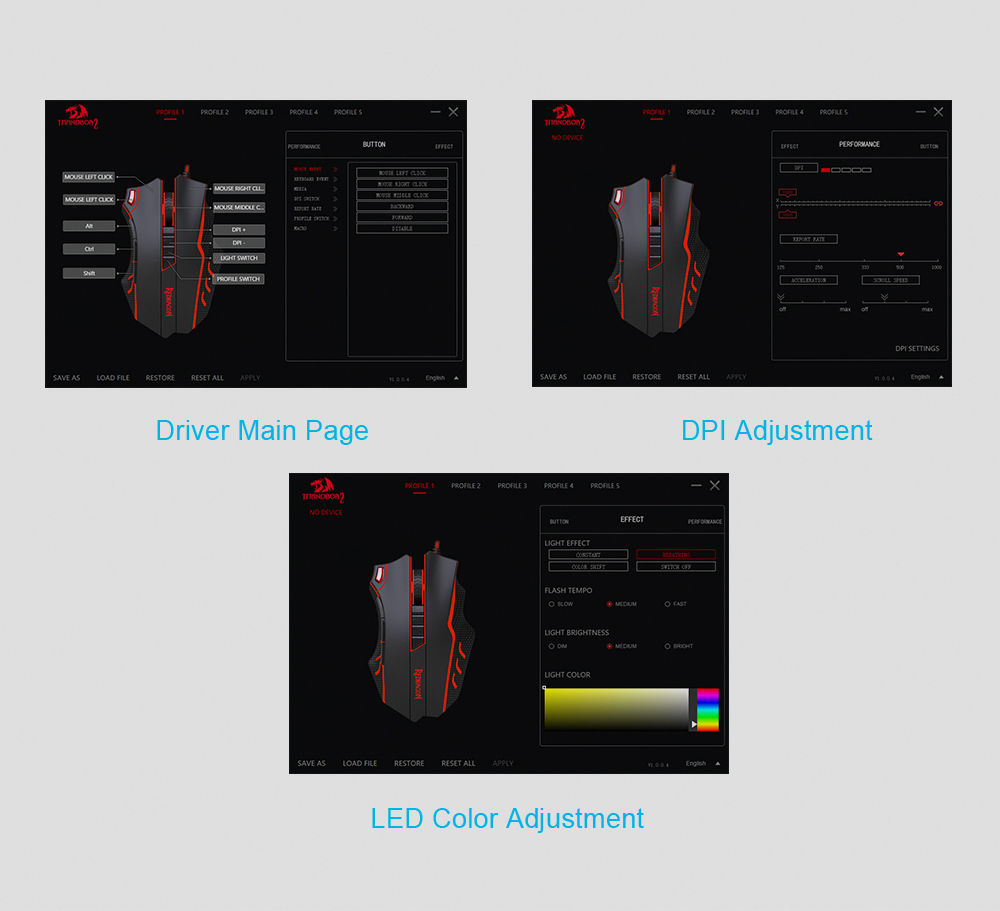 Redragon USB wired RGB Gaming Mouse 24000DPI 10 buttons laser programmable game mice LED backlight ergonomic for laptop computer 17