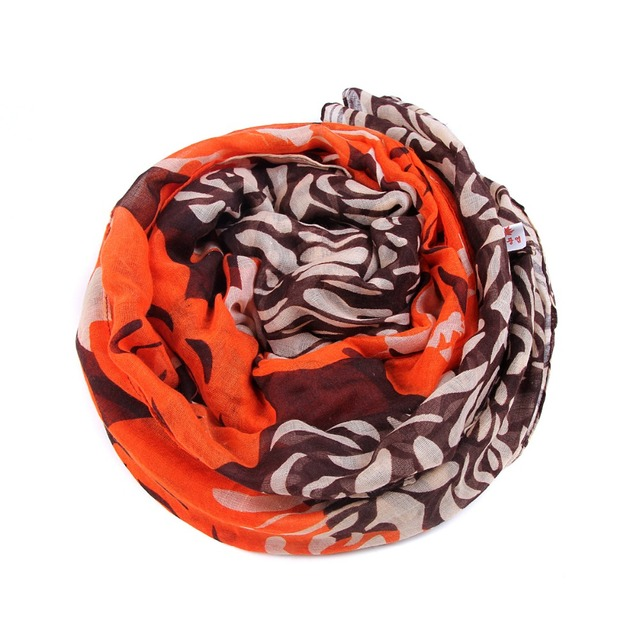 Coral Flower Printing Scarf | Lightweight Scarves