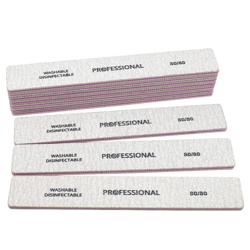 25pcs Professional Nail File Lime A Ongle Nail Art Tips Straight Nail Buffer Block Sanding Polish 80/80 Manicure Tools