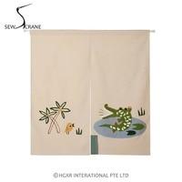 SewCrane Honeycomb Fabric Curtain Embroidery Design Bird Crocodile Home Restaurant Door Curtain Noren Doorway Room Divider