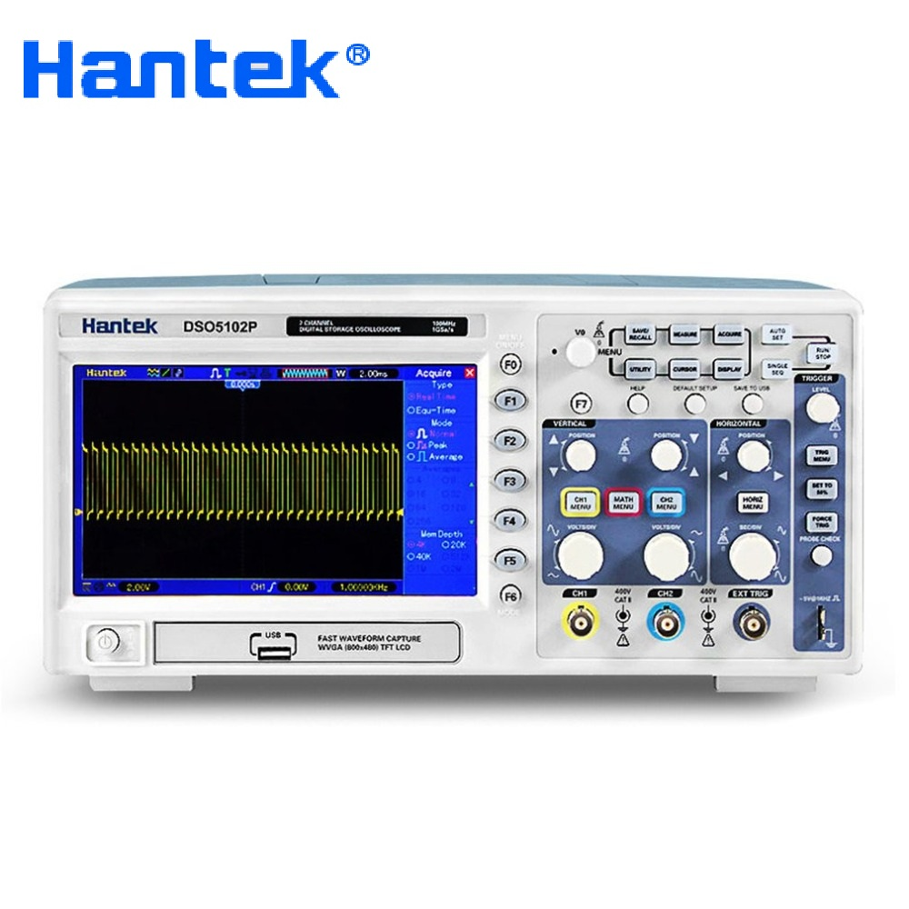 Numérique Oscilloscope Hantek DSO5102P Portable 100 mhz 2 Canaux 1GSa/s Longueur D'enregistrement 40 k USB Osciloscopio De Poche Oscilloscopes