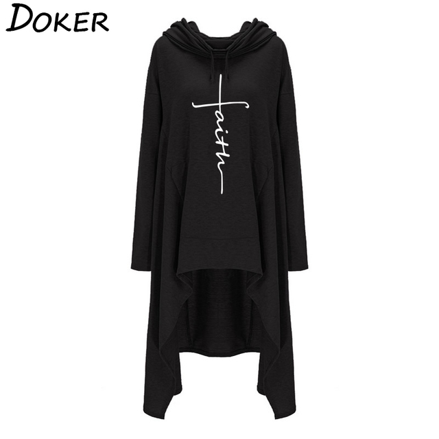 New Faith Letter Embroidered Long Hoodies For Women