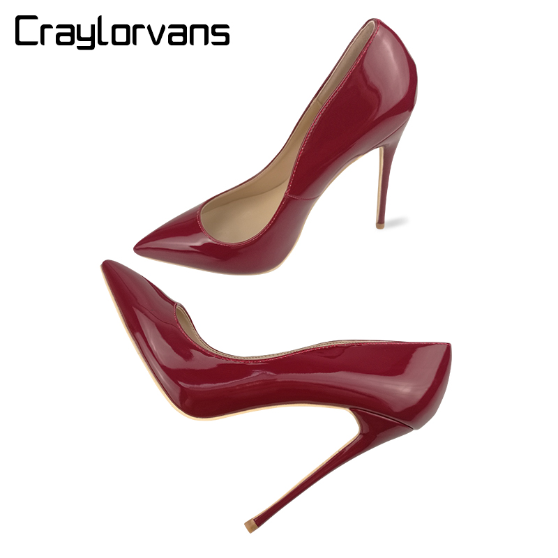 Craylorvans 12CM Burgundy Women High Heel Shoes Sexy Party Wedding Women Classical Pumps 2018 NEW Thin Heel Pointed Women Shoes sequined high heel stilettos wedding bridal pumps shoes womens pointed toe 12cm high heel slip on sequins wedding shoes pumps