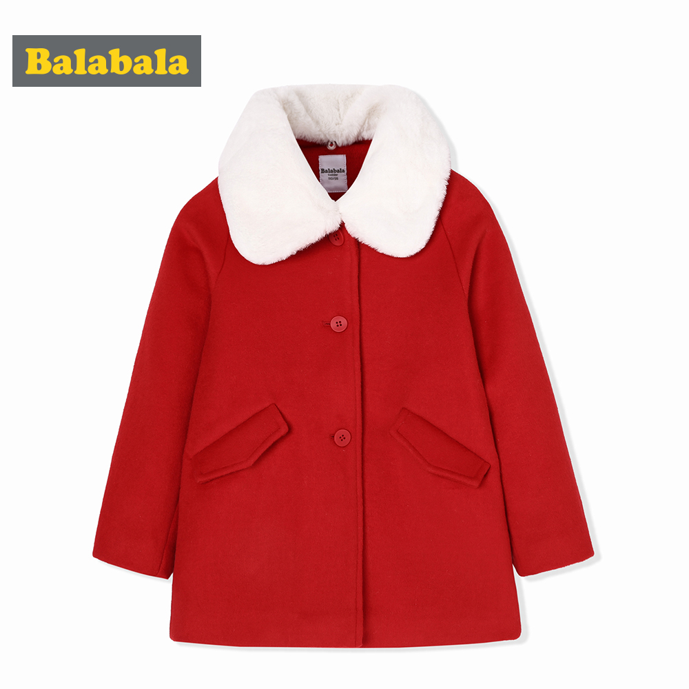 balabala Children Girls Woolen Fashion Coat Autumn Winter Warm Sweet Girl Jacket Detachable Collar Clothes For girl outwear children s jacket 2018 new autumn and winter boys woolen coat fashion plaid children s long suit collar collar woolen coat