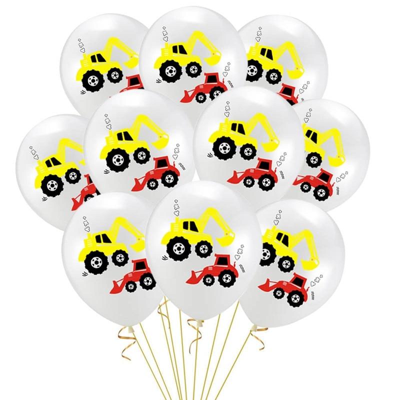 12 Inch Vehicle Truck Round Dots Pattern Balloon Cartoon Excavator Latex Car Theme Birthday Party Decoration 10pcs