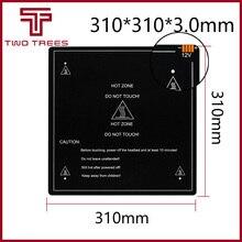 300*300*3.0mm 3d impressora peças, 1 peça, preto, mk3 hotbed, cama quente de alumínio para quente suporte de cama 12 v 310*310*3.0mm 12 v/24 v