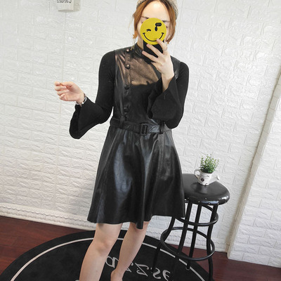 2019 New Fashion Genuine Sheep Leather Dress Y17 in Dresses from Women 39 s Clothing
