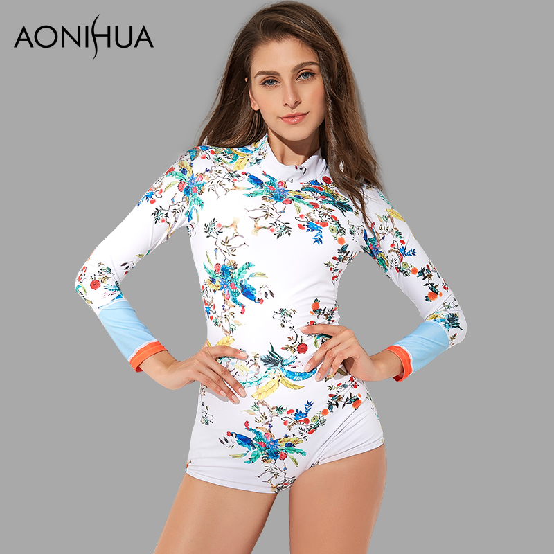 AONIHUA One Piece Swimsuits for Women Long sleeve 2018 New Slim Print Surfing Rash Guards Push up Swimwear Female Swimming Suit цена