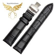 14 mm 16 mm 18 mm 19 mm 20 mm 21 mm 22 mm noir en cuir véritable bracelet Band Mens en acier inoxydable papillon boucle fermoir