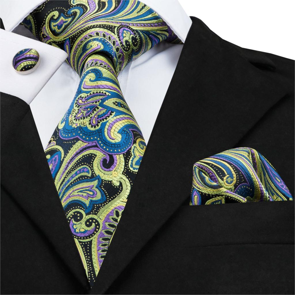 SN-1640 Fashion Paisley Mens Necktie Silk Male Ties For Men Yellow Jacquare Woven Neck Tie Handkerchief Cufflinks Set For Suit