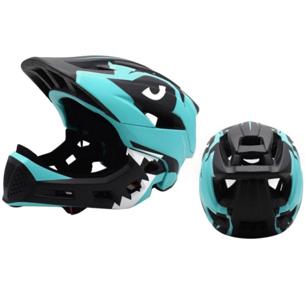Дети полный уход за кожей лица Детские защитный шлем шапки съемный Crashworthy творчества Велоспорт Шлем модульный флип - Цвет: green black