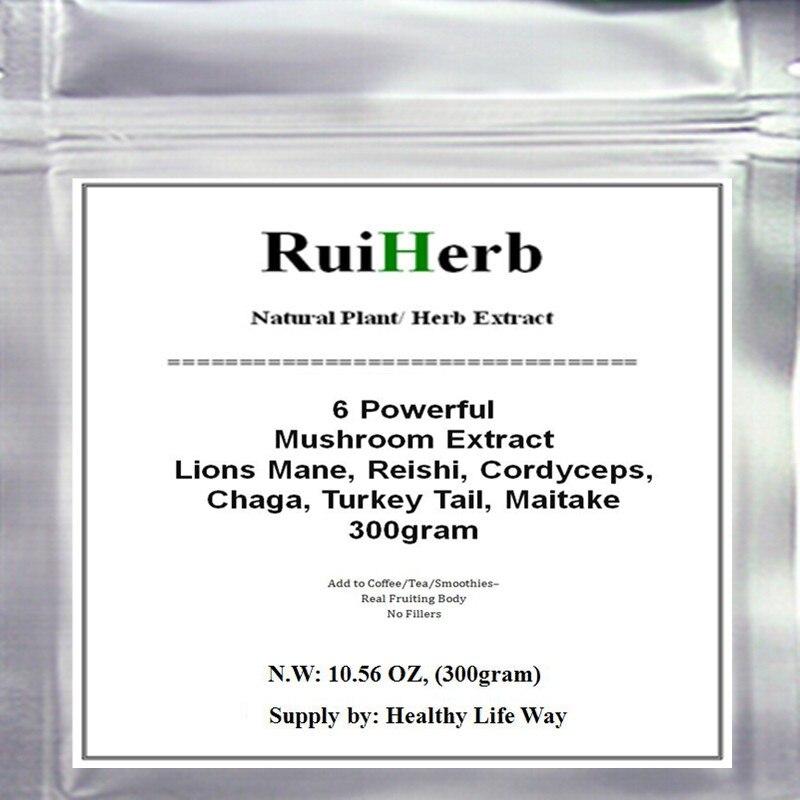 Powerful 6 Mushroom Blend Extract Powder Lions Mane Reishi Cordyceps Chaga Turkey Tail Maitake 300gram