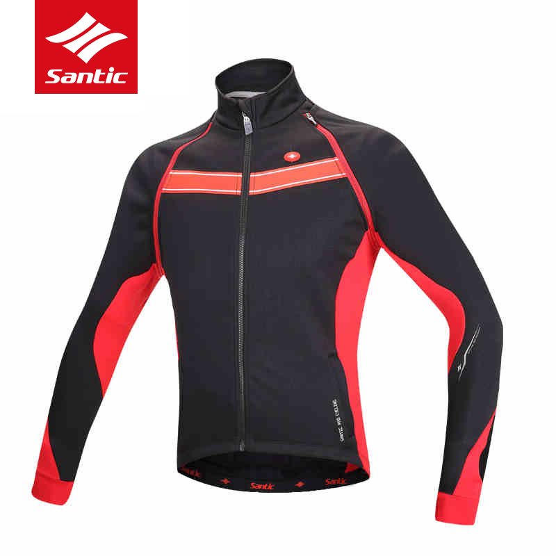 Santic Cycling Jacket Men Winter Removable Sleeve Bike Bicycle Jacket Fleece Thermal Windproof Warm MTB Road Cycling Clothing santic cycling pants road mountain bicycle bike pants men winter fleece warm bib pants long mtb trousers downhill clothing 2017
