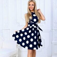 2019 Elegant women wave point dress Hot Sale sleeveless A-line Midi Casual Spring Summer Polk Dot vestidos