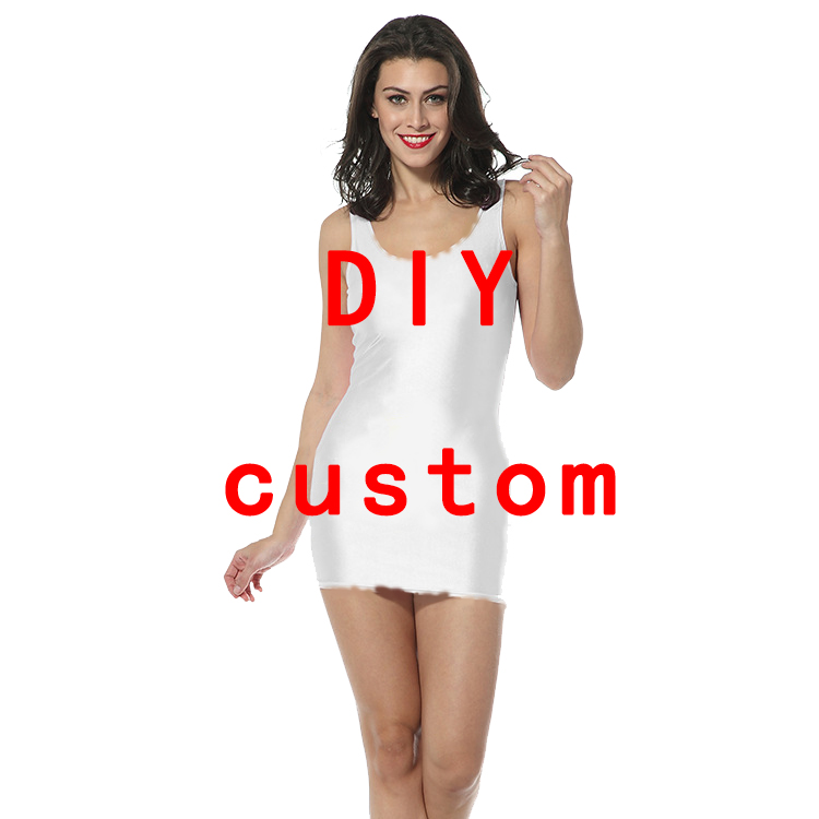3D Print DIY Custom women Summer women's clothing   tank     top   dress sleeveless dress Quality quality Dropshipping Pack hip skirt