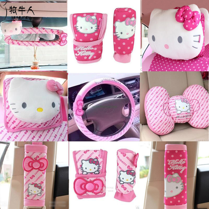 Pink Car-Styling Cute Cartoon Hello Kitty Car Seat Interior Accessories Steering Wheel Cover Seat Belt Handbrake Gears Cover
